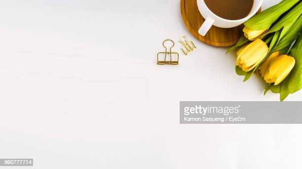 high angle view of yellow tulips by tea cup and binding clips against white background - clip stock pictures, royalty-free photos & images