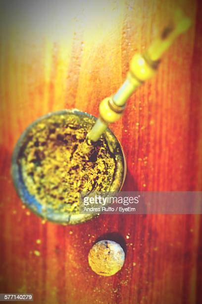 high angle view of yerba mate - andres ruffo stock photos and pictures