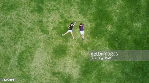 high angle view of young couple on grass - lying down fotografías e imágenes de stock