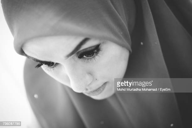 High Angle View Of Young Woman Wearing Hijab