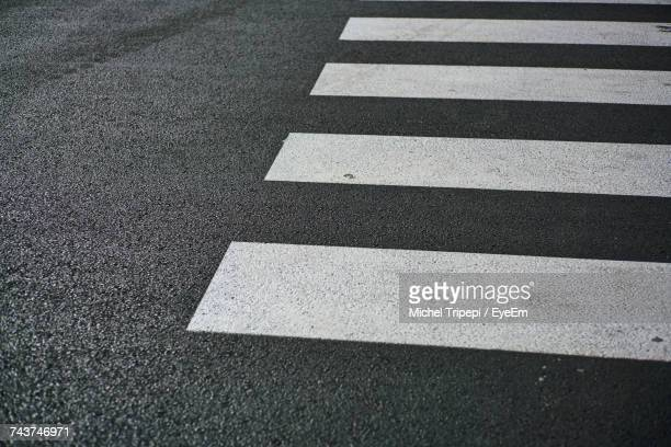 high angle view of zebra crossing on road - pedestrian crossing imagens e fotografias de stock