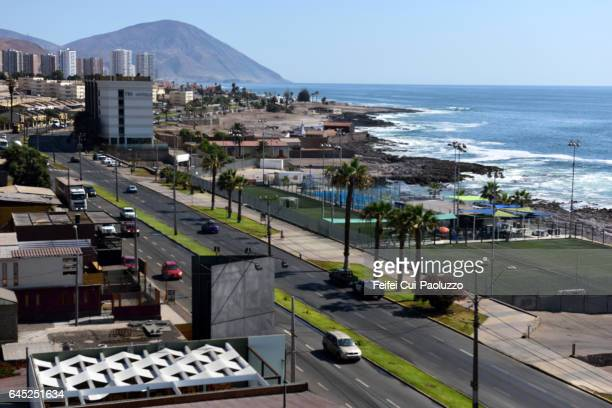 high angle view on antofagasta city of chile - antofagasta region stock photos and pictures