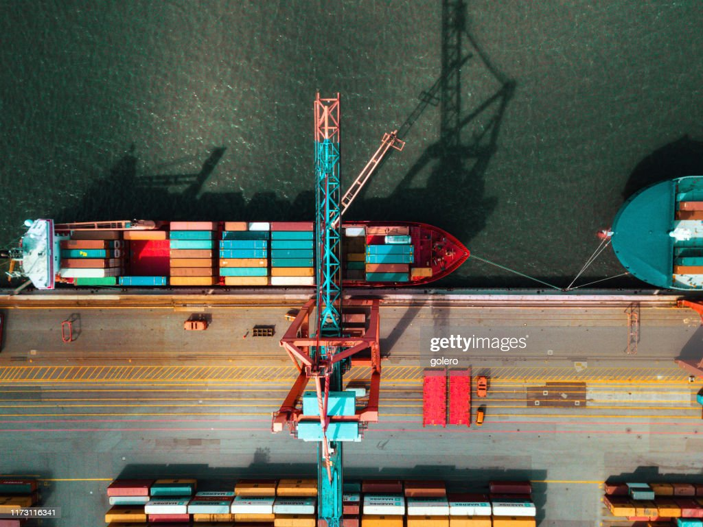 Hochwinkelansicht am Cargo Kran Container Terminal : Stock-Foto