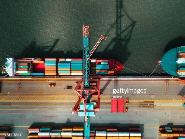 high angle view on cargo crane container terminal - commercial dock stock pictures, royalty-free photos & images
