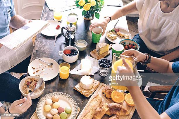 high angle view on french family breakfast table - the brunch stock pictures, royalty-free photos & images