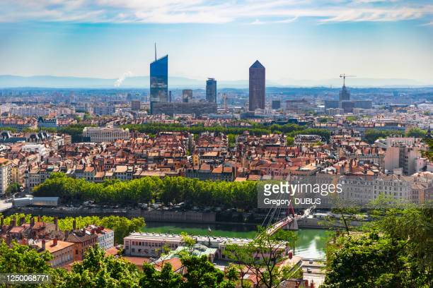 high angle view on french lyon cityscape in summer with the part-dieu business district skyscrapers - lyon stock pictures, royalty-free photos & images