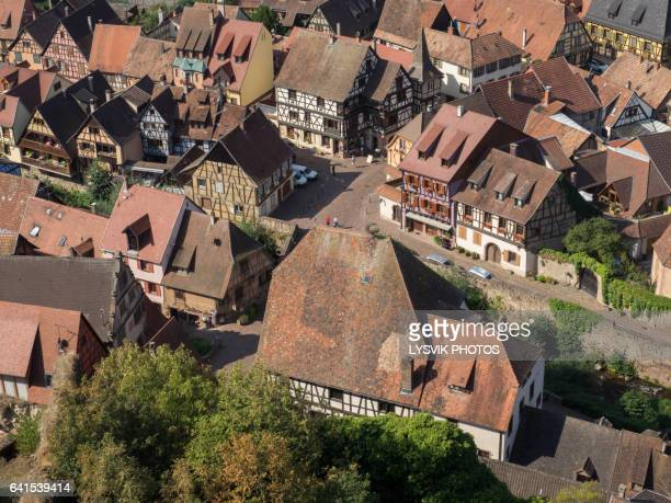 High angle view on historical village Kaysersberg, Alsace
