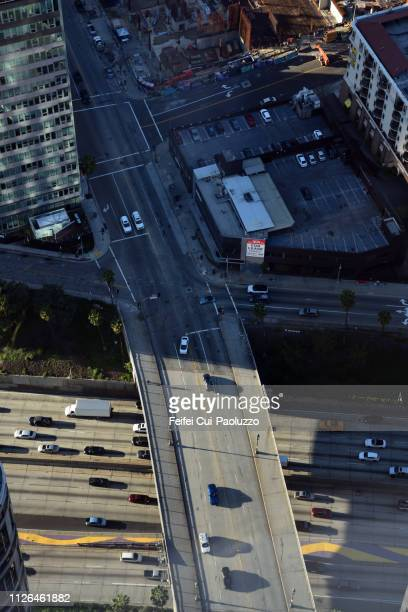 High angle view on the road traffic  at city of Los Angeles, USA