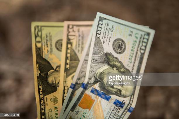 High angle view os US Dollar bills
