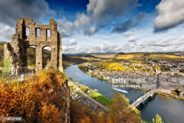 high angle view over castle ruin in traben-trarbach and moselle river in autumn - moselle stock-fotos und bilder