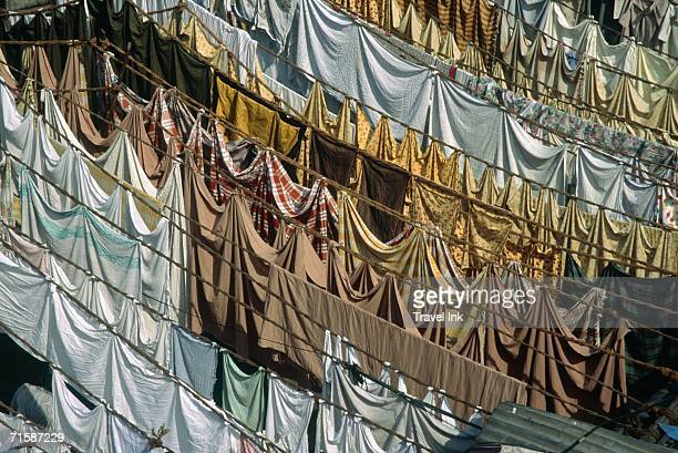 High Angle View Over Dhobi Ghats - Lines of Washing Out to Dry