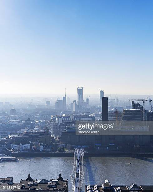 High angle view over London city
