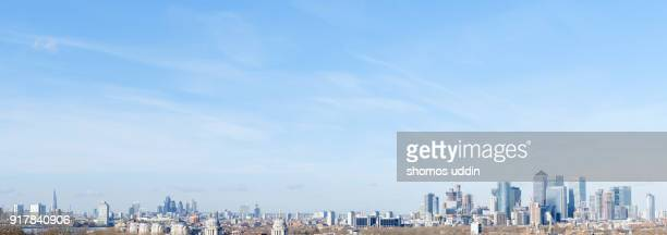 high angle view over london city skyline - london docklands stock pictures, royalty-free photos & images