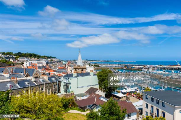 high angle view over saint peter port guernsey - isola di guernsey foto e immagini stock