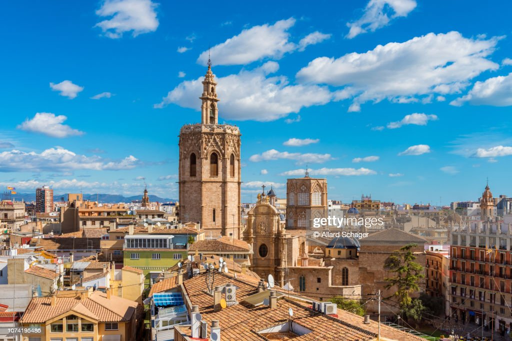 High Angle View over Skyline of Valencia Spain : ストックフォト