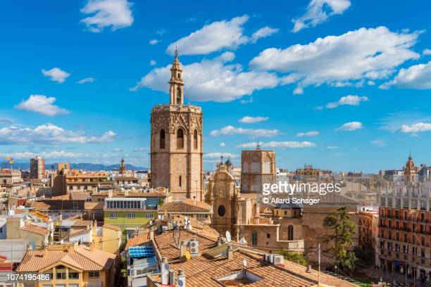 high angle view over skyline of valencia spain - valencia spanje stockfoto's en -beelden