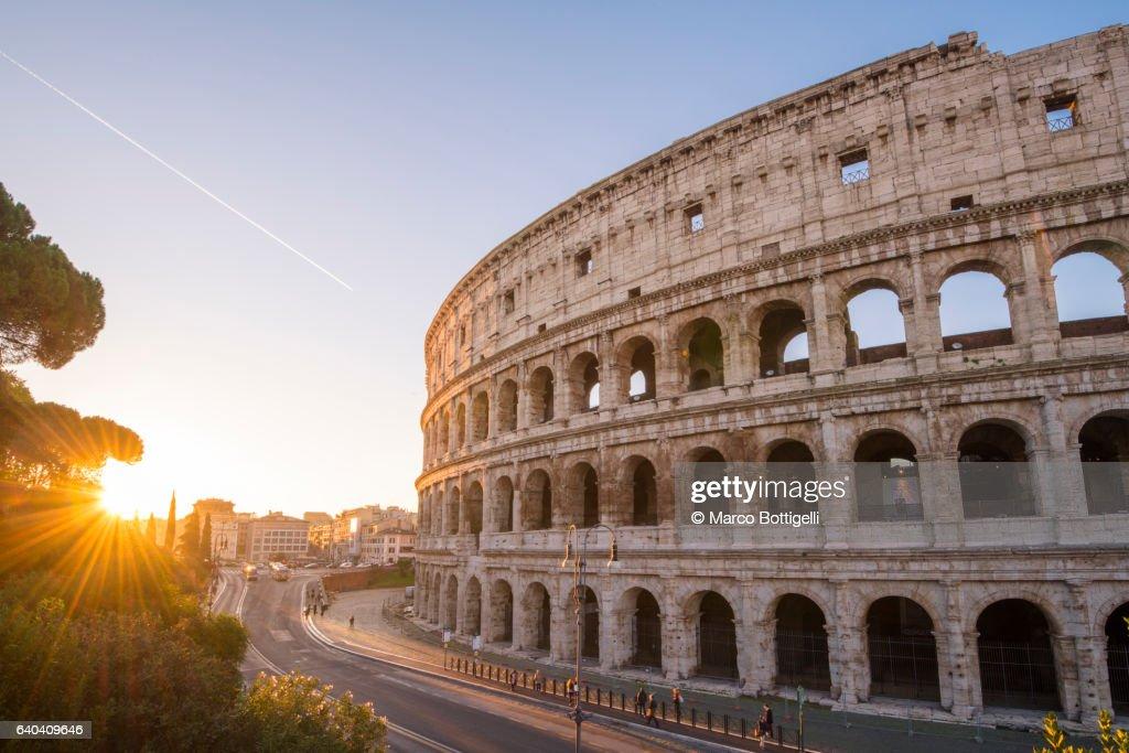 High angle view over the Colosseum at sunrise. Rome, Lazio, Italy. : Stock Photo