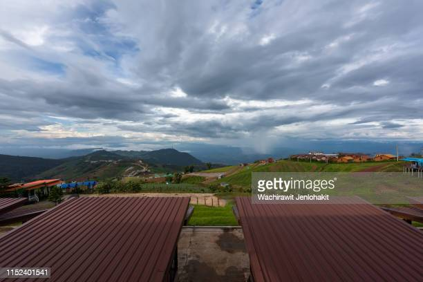 high angle view, phu thap boek peak. clouds and beautiful sky. - boek stock pictures, royalty-free photos & images