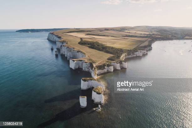 high angle view showing old harry rocks and dorset coastline, england, united kingdom - rock stock pictures, royalty-free photos & images