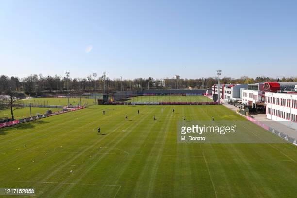 A high angle view shows players of FC Bayern Muenchen during a first training session at Saebener Strasse training ground as the players had to self...