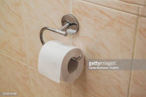 high angle view toilet paper at toilet - kitchen paper stock pictures, royalty-free photos & images