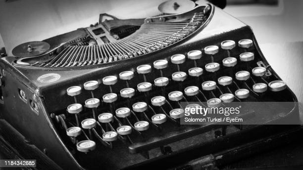 high angle view typewriter - solomon turkel stock pictures, royalty-free photos & images