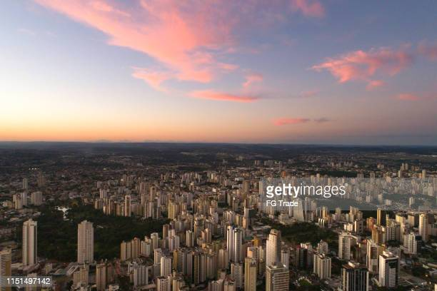 high angle view with sunset in goiânia, goiás - goiania stock pictures, royalty-free photos & images