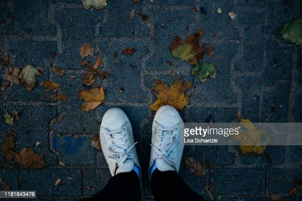 high ankle view of white shoes standing on fallen leaves - lisa strain stock pictures, royalty-free photos & images