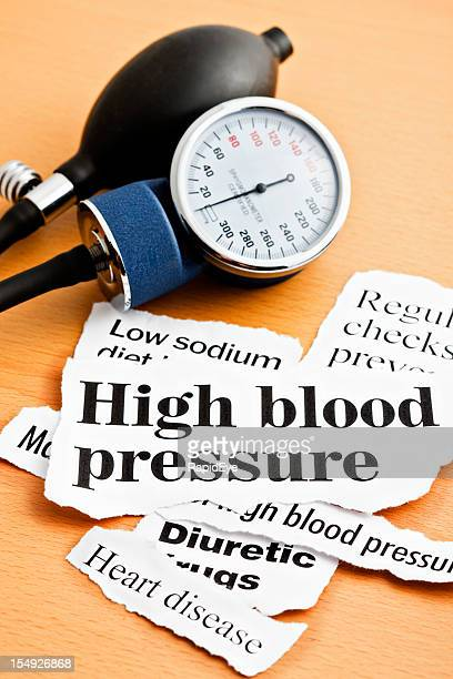High blood pressure headlines with sphygmomanometer