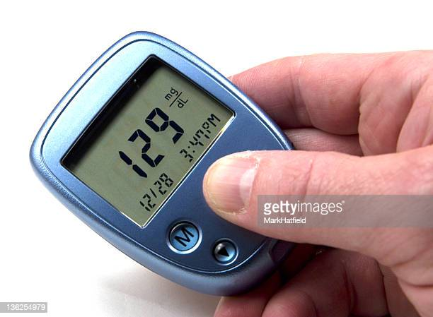 High blood sugar reading on a blue device