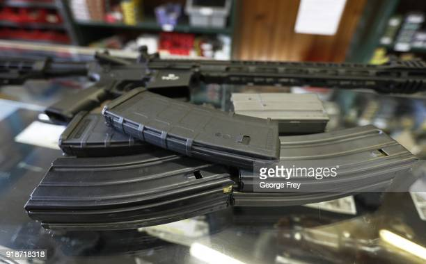 High capacity clips for an AR-15's are shown here at Good Guys Guns & Range on February 15, 2018 in Orem, Utah. An AR-15 was used in the Marjory...