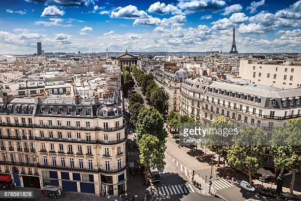 high city view of paris during a beautiful day - paris france photos et images de collection