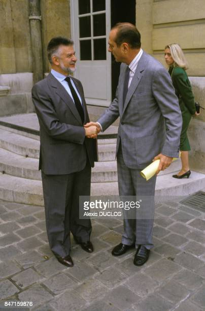 High civil servant and businessman Michel Baroin at Hotel Matignon with Prime Minister Jacques Chirac on October 14 1986 in Paris France