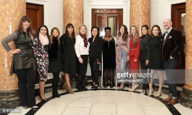 High Commissioner for Canada to the UK Janice Charette with designers Angela DeMontigny Rita Elias and Rim Elias Roxana Esmailji Susan Langdon Tyler...