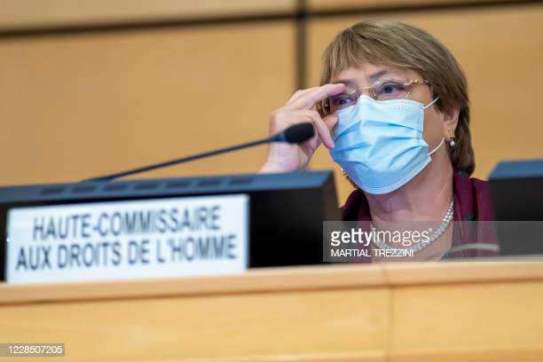 High Commissioner for Human Rights Michelle Bachelet attends the opening of the 45th session of the Human Rights Council, at the European...