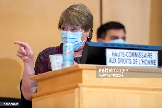 High Commissioner for Human Rights Michelle Bachelet gestures before her speech during the opening of 45th session of the Human Rights Council, at...