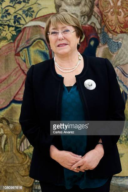 High Commissioner for Human Rights Michelle Bachelet looks on before her meeting with King Felipe VI of Spain at the Zarzuela Palace on December 11...