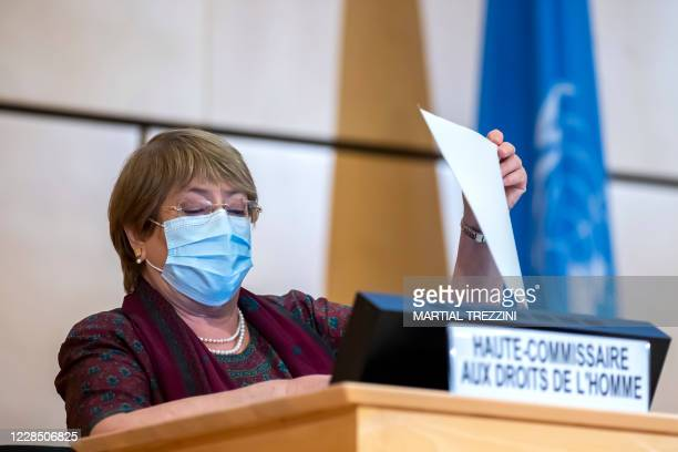 High Commissioner for Human Rights Michelle Bachelet reads a document before her speech during the opening of 45th session of the Human Rights...