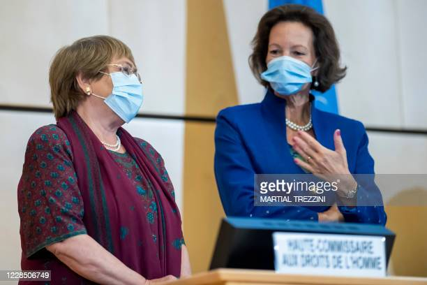 High Commissioner for Human Rights Michelle Bachelet speak with Austrian Ambassador and the President of the Human Rights Council Elisabeth...