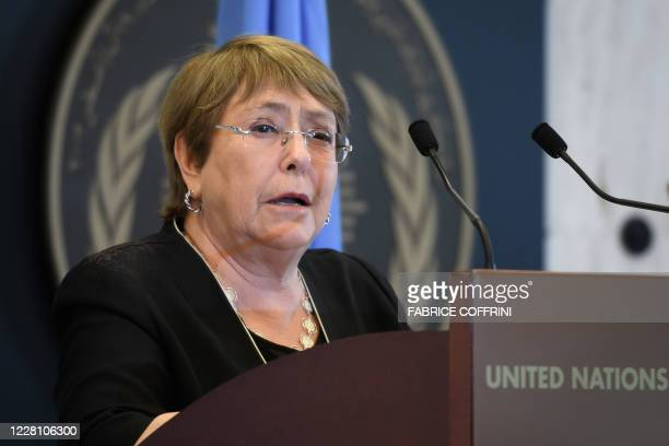 High Commissioner for Human Rights Michelle Bachelet speaks at 2020 World Humanitarian Day, dedicated to recognise humanitarian personnel and those...