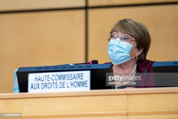 High Commissioner for Human Rights Michelle Bachelet speaks during the opening of 45th session of the Human Rights Council, at the European...
