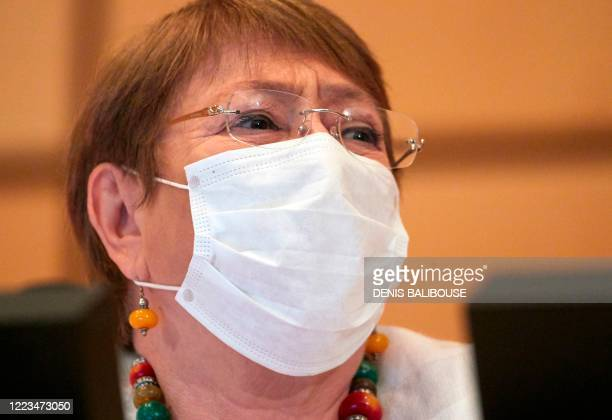 High Commissioner for Human Rights Michelle Bachelet wearing a mask attends the 44th session of the Human Rights Council at the European headquarters...