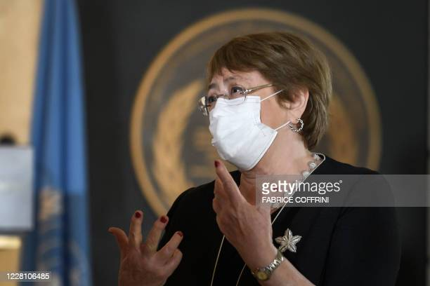High Commissioner for Human Rights Michelle Bachelet wears a protective face mask as she attends 2020 World Humanitarian Day, dedicated to recognise...