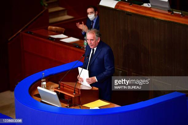 High Commissioner for Planning Francois Bayrou delivers a speech during the presentation of the 'Method and work agenda of the Office of the...