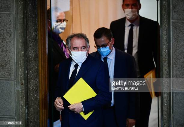 High Commissioner for Planning Francois Bayrou wearing a face mask arrives to present the 'Method and work agenda of the Office of the Commissioner...