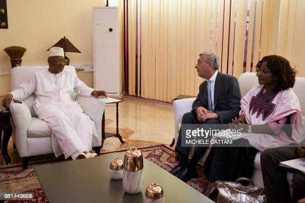 UN High Commissioner for Refugees Filippo Grandi and UNHCR representative in Mali Angele Djohossou speak with Mali's Prime Minister Soumeylou Boubeye...
