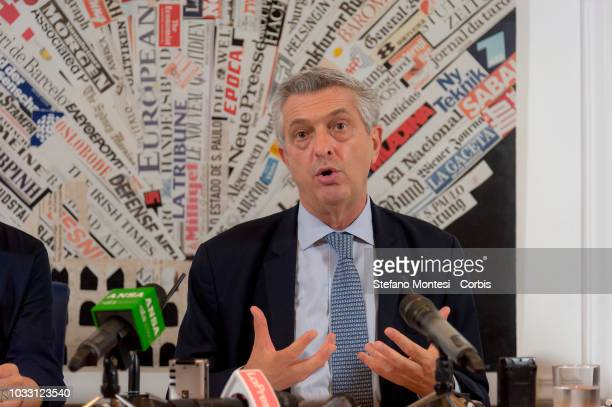 High Commissioner for Refugees Filippo Grandi attends a press conference at the Foreign Press on September 14 2018 in Rome Italy During his stay in...