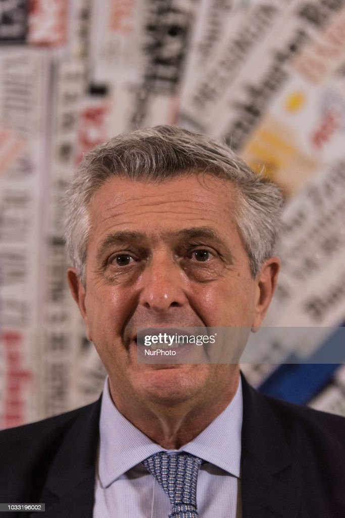 UN High Commissioner for Refugees Filippo Grandi meets the journalists at the foreign press in Rome, September,14 2018 in Rome, Italy.