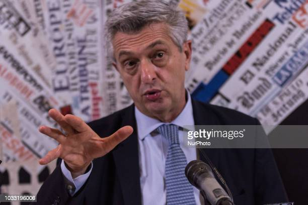 UN High Commissioner for Refugees Filippo Grandi meets the journalists at the foreign press in Rome September14 2018 in Rome Italy