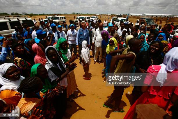 UN High Commissioner for Refugees Filippo Grandi visits on August 15 the AlNimir camp in the Sudanese state of East Darfur for an ontheground...
